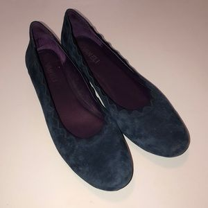 VANELI Navy Suede Leather Loafers Shoes